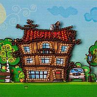 Магнит вышитый бисером Волшебная страна Большой дом (FLA009) 9 х 9 см