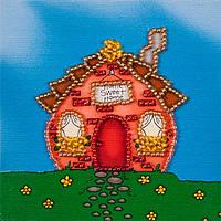 Вышивка бисером на холсте магнита Волшебная страна Милый дом (FLA012) 9 х 9 см