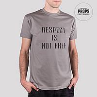 Серая мужская футболка с надписью, 100% хлопок