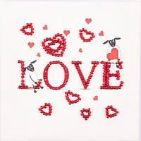 Набор для вышивки бисером магнита Волшебная страна Овечья любовь (FLA045) 9 х 9 см