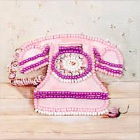 Набор для вышивки бисером магнита Волшебная страна Розовый телефон (FLA051) 9 х 9 см