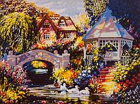 Картина бисером на холсте Волшебная страна Беседка у реки (FLF012) 30 х 40 см
