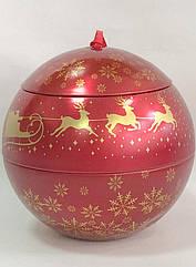 """Бляшана коробка для новорічного подарунка """"КУЛЯ""""/ Жестяна коробка для новорічного подарунка"""