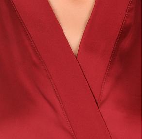 Шелковый халат с кружевом Martelle Lingerie (Вишневый), фото 2