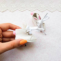 """Обувь для кукол Ботиночки на Шнуровке """"Зайчики"""" двойное ушко 5.3*2.8 см БЕЛЫЕ"""