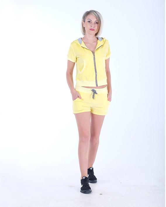 Женский летний спортивный костюм велюр Желтый размер 40-44