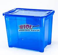 Контейнер 20л универсальный (пища, вещи) 37х25,5х29,5см пластиковый прямоугольный СИНИЙ с крышкой Ал-Пластик