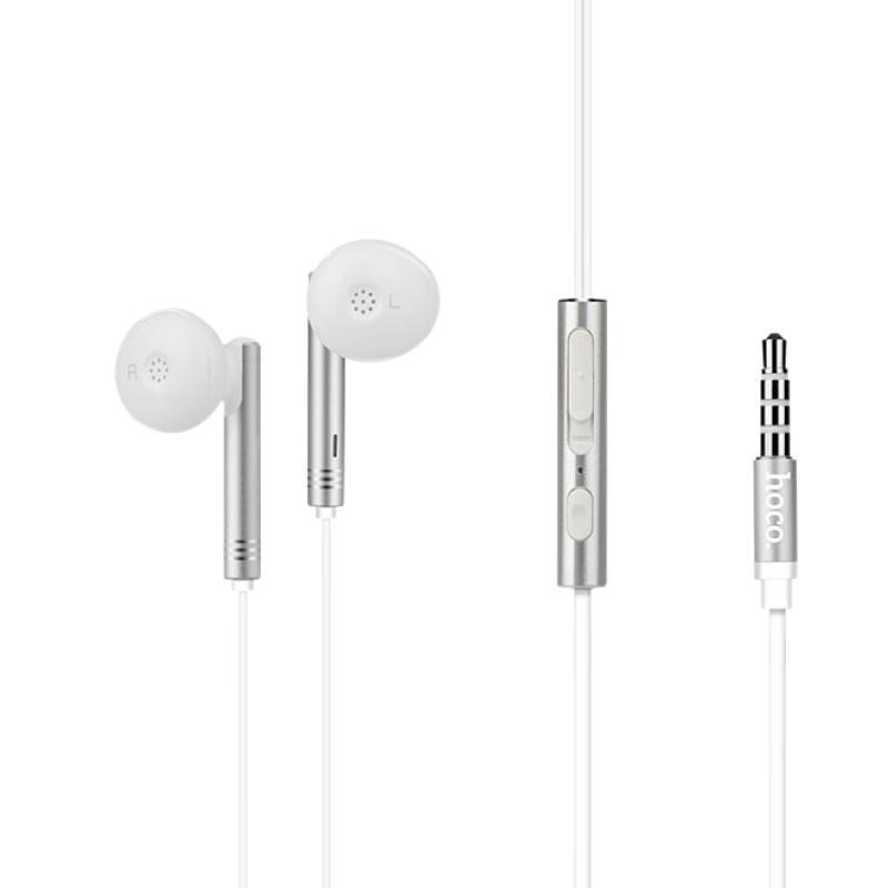 Наушники Hoco M26 Silver с микрофоном, кнопкой ответа и регулировкой громкости