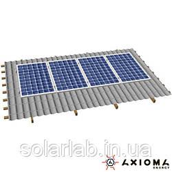 AXIOMA energy Система креплений на 5 панелей параллельно крыше, алюминий 6005 Т6 и нержавеющая сталь А2,