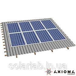AXIOMA energy Система креплений на 7 панелей параллельно крыше, алюминий 6005 Т6 и нержавеющая сталь А2,