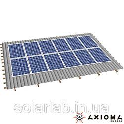 AXIOMA energy Система креплений на 12 панелей параллельно крыше, алюминий 6005 Т6 и нержавеющая сталь А2,