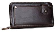 Мужской клатч кошелек кардхолдер кожаный коричневый функциональный удобный