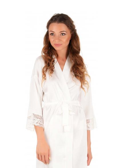 Шелковый халат с кружевом Martelle Lingerie (Молочный)