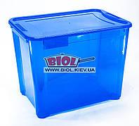Контейнер 70л универсальный (пища, вещи) 54,5х38х42см пластиковый прямоугольный СИНИЙ с крышкой Ал-Пластик