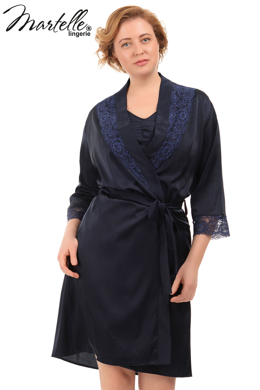 Шелковый халат с кружевом Martelle Lingerie (большие размеры)