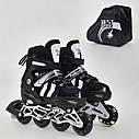 Детские роликовые коньки черные 9031 S Best Roller размер 31-34 полиуретановые колеса, фото 3