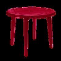 Круглый пластиковый стол 90 см Вишневый
