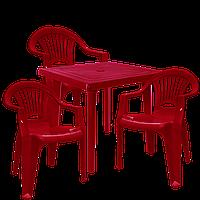Стол и стулья для дачи Вишневый (ЛУКВАД 3v)