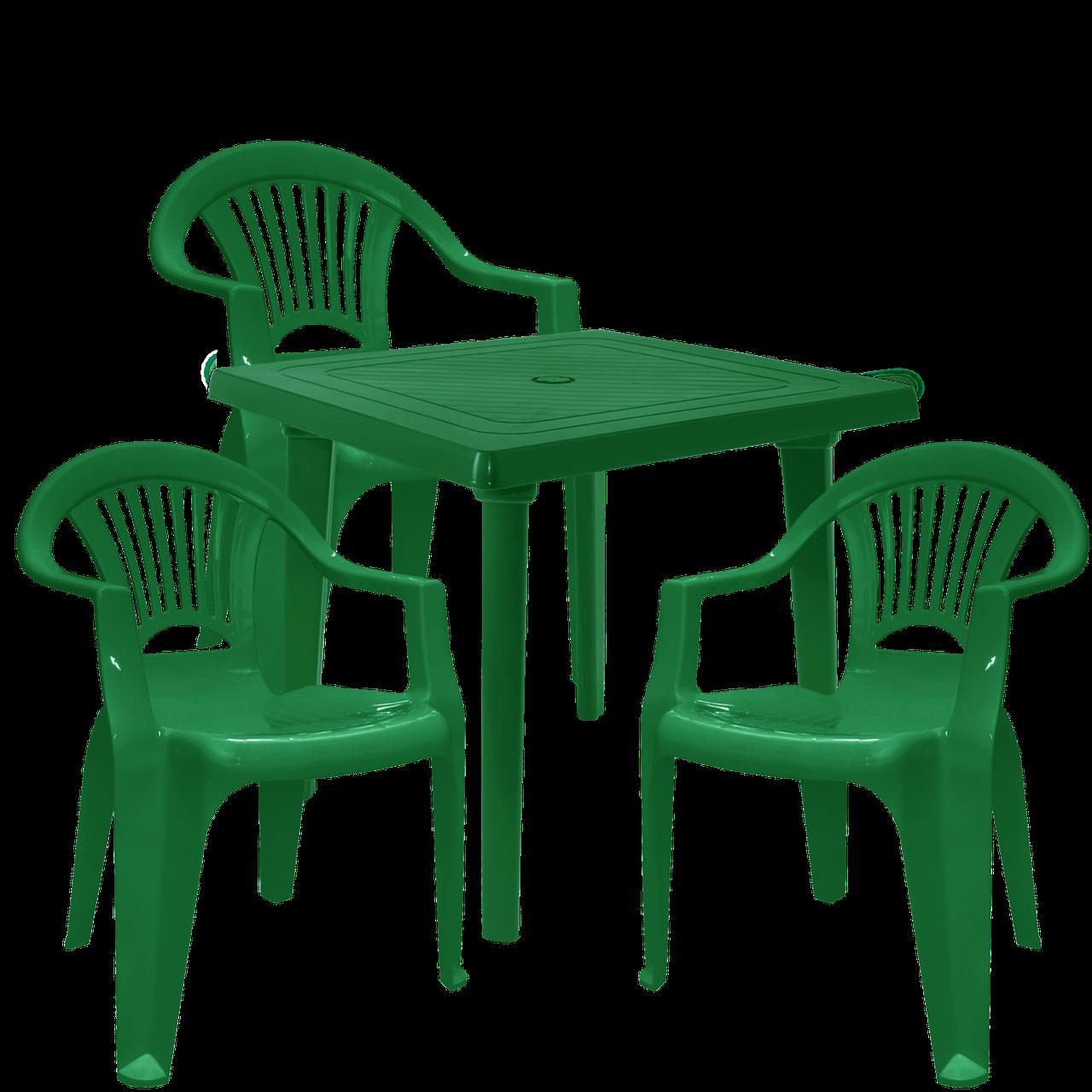 Стол и стулья Зеленый (ЛУКВАД 3z)
