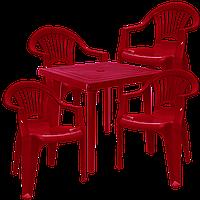 Пластмассовая мебель для дачи Вишневый (ЛУКВАД 4v)