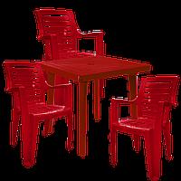 Комплект пластиковой мебели Вишневый  (РЕКВАД 3v)