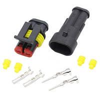 Разъем автомобильный электрический герметичный DJ7021-1.5 комплект 2pin (z03742)
