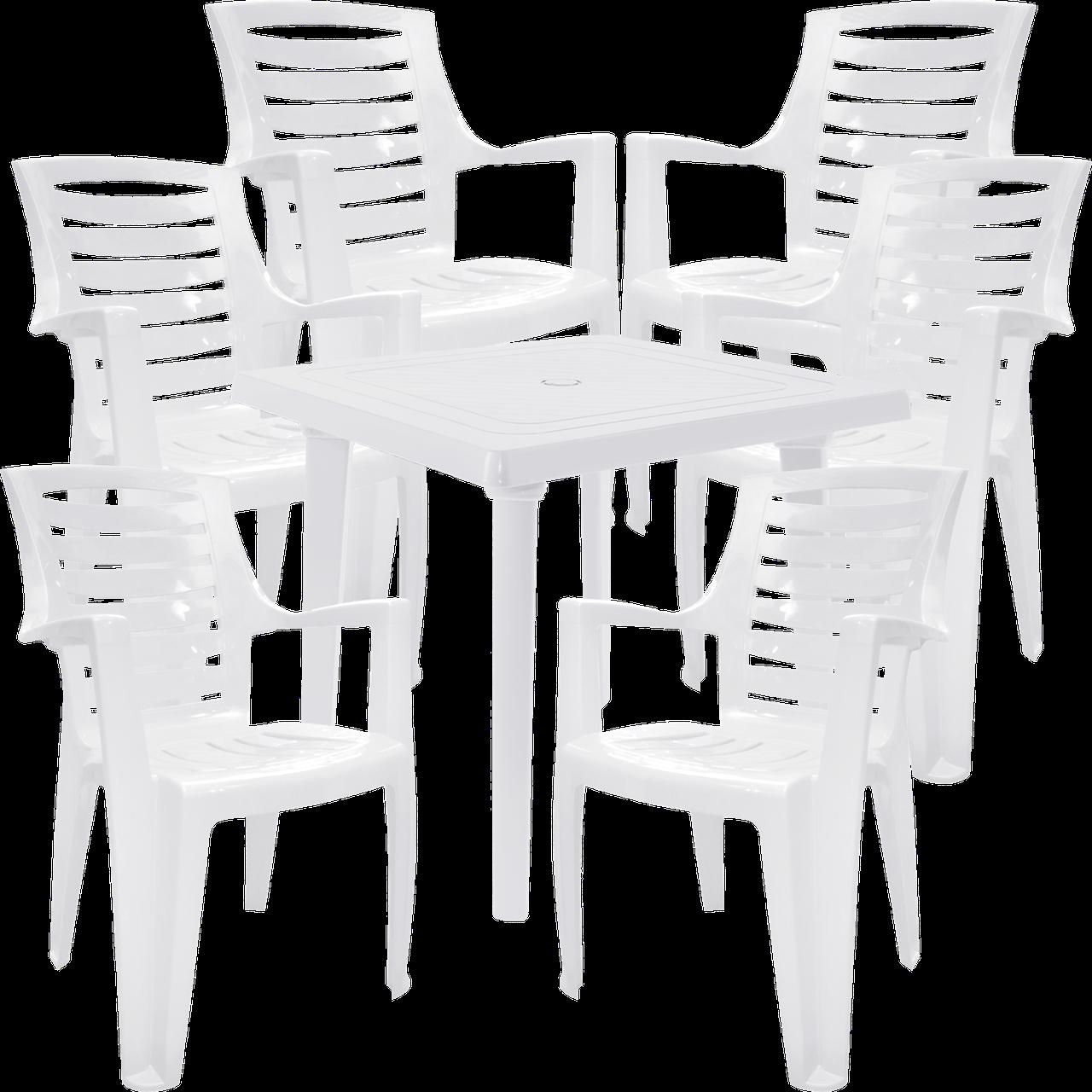 Уличные стол и стулья Белый (РЕКВАД 6b)
