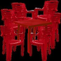 Стол и стулья для кафе Вишневый (РЕКВАД 6v)