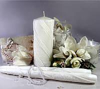 """Набор свадебных свечей """"Спираль""""- белый цвет украшения"""