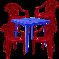Стол и стулья уличные пластмассовые Разноцветный (ЛУКВАД 4vs)