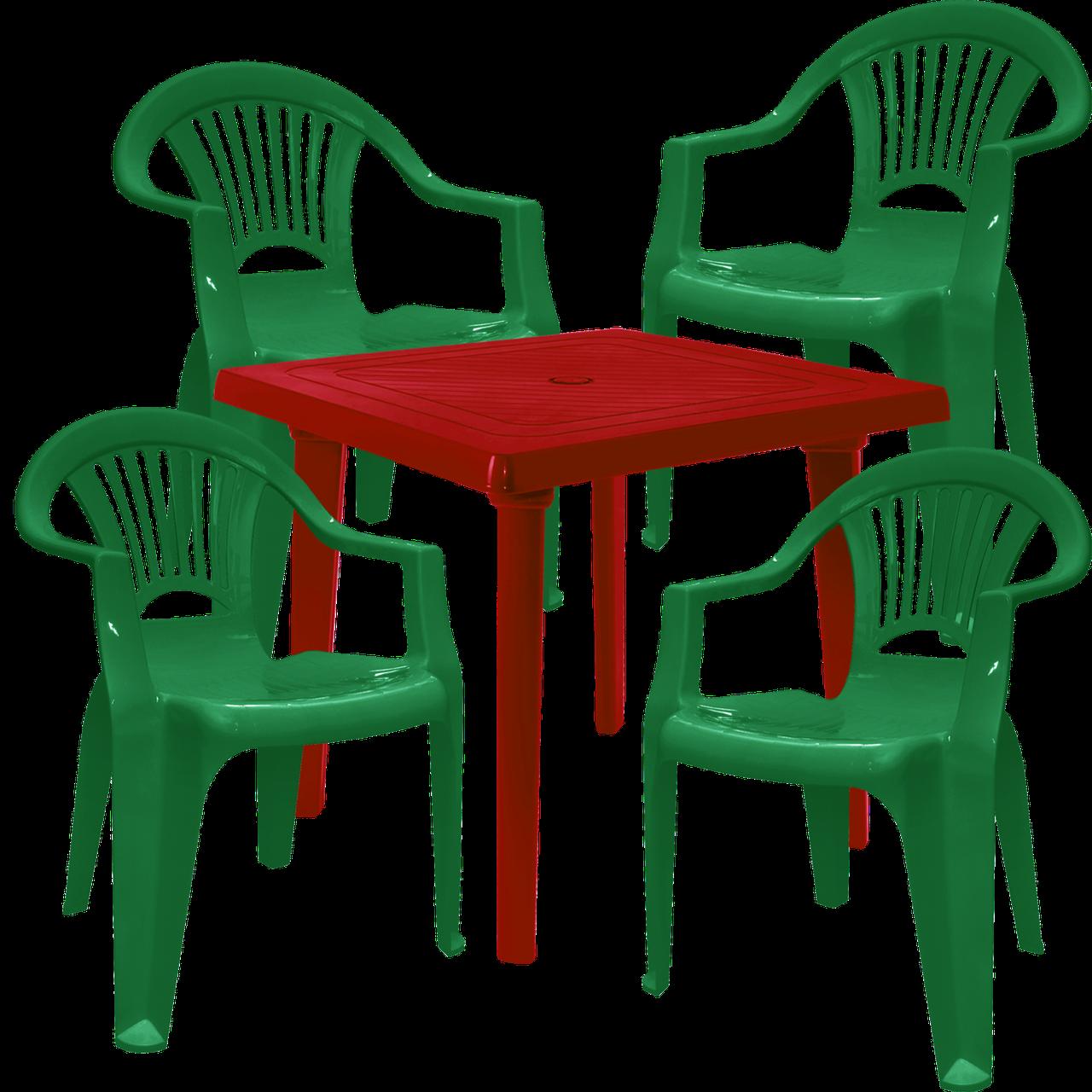 Комплект пластиковых стульев и стол Разноцветный (ЛУКВАД 4zv)