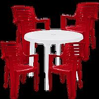 Стол пластиковый и стулья для дачи Разноцветный (РЕКРУ 4vb)