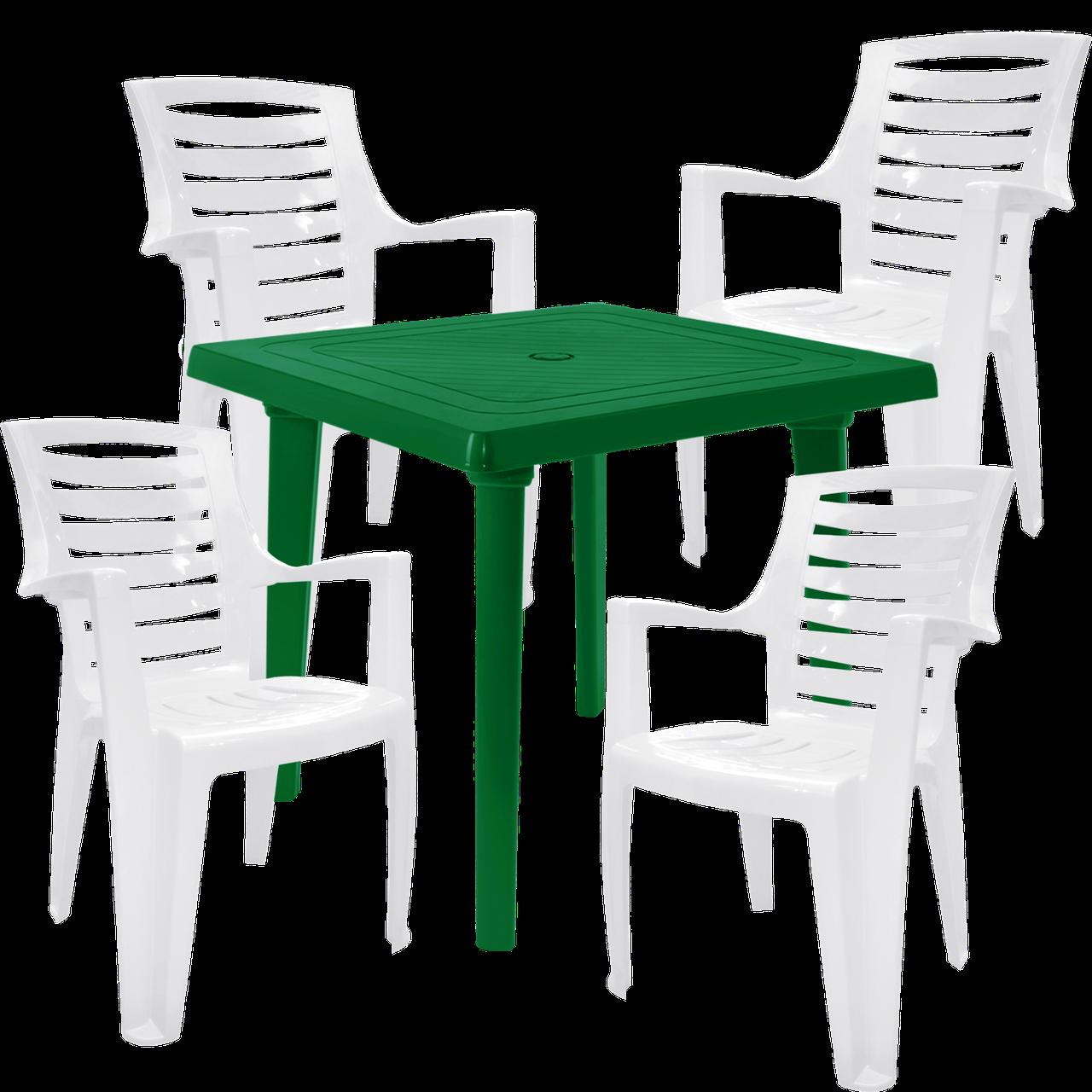 Стол пластиковый, стулья для сада Разноцветный (РЕКВАД 4bz)