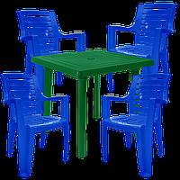 Комплект садовой пластиковой мебели Разноцветный (РЕКВАД 4sz)