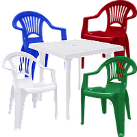 Комплект пластиковой мебели на улицу Разноцветный (ЛУКВАД 4mixb)