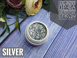 Гель лак на основе слюды Silver 5 ml