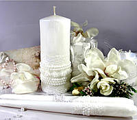 """Набор свадебных свечей """"Ожирелье""""- белый цвет украшения"""