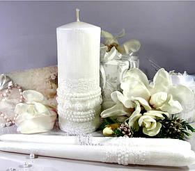 """Набір весільних свічок """"Ожирелье""""- білий колір прикраси"""