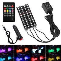 Декоративная RGB LED подсветка салона авто цветомузыка c пультом в прикуриватель (z04582)