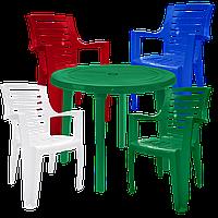 Набор садовой мебели. Пластиковый стол, стулья Разноцветный (РЕКРУ 4mixz)
