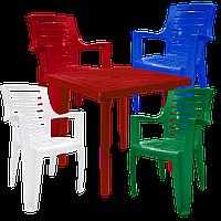 Мебель садовая. Пластиковое кресло и стол Разноцветный (РЕКВАД 4mixv)