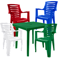 Мебель садовая. Пластиковый стол и кресло Разноцветный (РЕКВАД 4mixz)