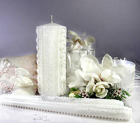 """Набір весільних свічок """"Весілля закоханих""""- білий колір прикраси"""