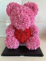 Мишка из роз 40 см + Коробка в Подарок. Медведь Розовый с Красным 3D Сердцем. ОРИГИНАЛ !