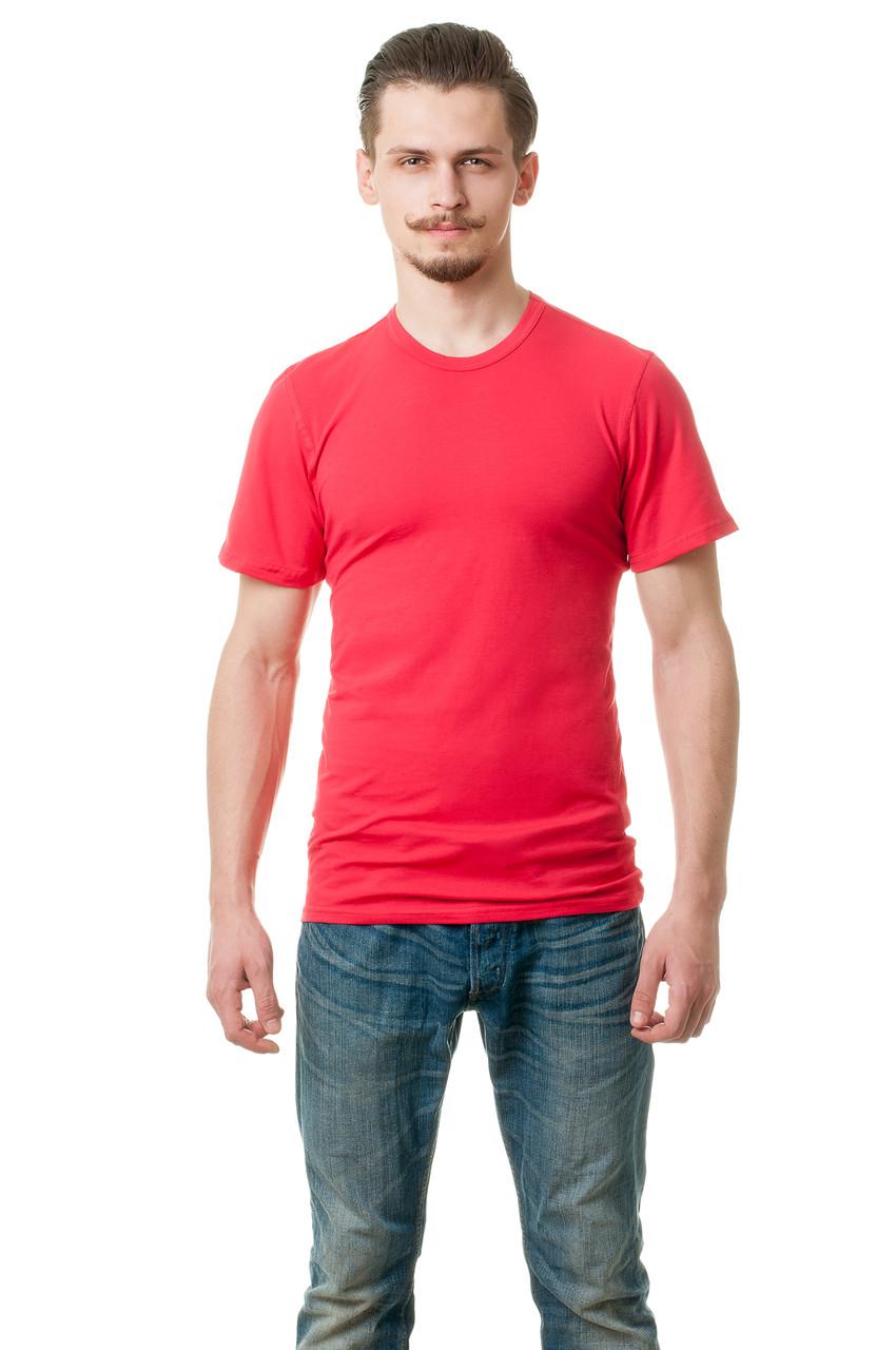 Мужская футболка из стрейч-коттона классического кроя по фигуре, коралловая