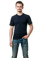 Мужская футболка из стрейч-коттона классического кроя по фигуре, темно-синяя