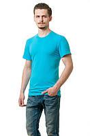 Мужская футболка из стрейч-коттона классического кроя по фигуре, бирюзовая