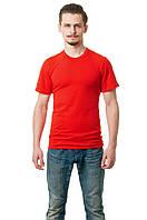 Мужская футболка из стрейч-коттона классического кроя по фигуре, красная
