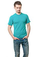 Мужская футболка из стрейч-коттона классического кроя по фигуре, цвета морской волны