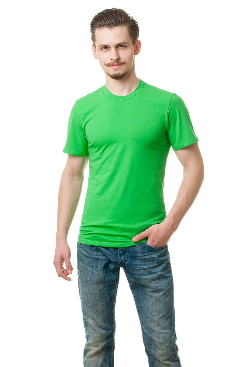 Мужская футболка из стрейч-коттона классического кроя по фигуре, салатовая